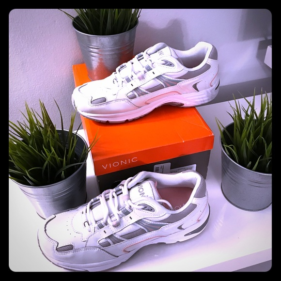 Vionic Shoes - Vionic Orthaheel action walker shoe pink & white